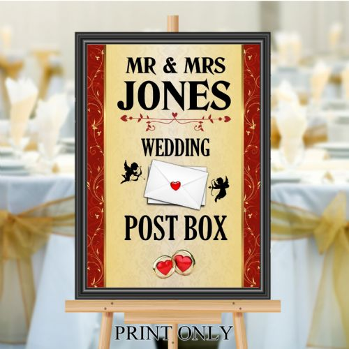 Personalised Wedding Money & Cards Post Box Sign Poster Banner - Print N204